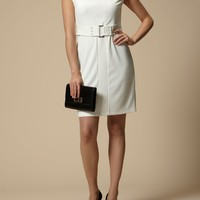 Linea 60`s Belted ponte dress Cream - House of Fraser