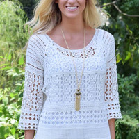 High Expectations Open Knit Top - Pale Yellow - White