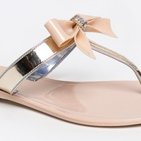 Bamboo HAWAII-07 Rhinestone Bow Detail Slip On Flat Jelly Thong Flip Flop Sandal