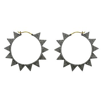 2.72ct Pavé Round Diamonds in 925 Sterling Silver & 14K  Gold Spike Hoop Earrings