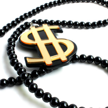 """On The Money"" Black Bead Dollar Sign Pendant Necklace"