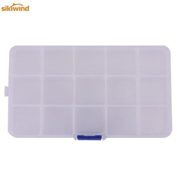 Sikiwind 15 Compartments Movable Transparent Fishing Tackle Box Lure Baits Storage Multifunction Case Fishing Accessories Contai