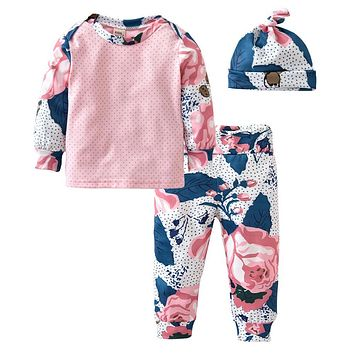 Fashion baby girls clothing sets newborn long sleeve floral printed t-shirt+pants+hat kids toddler 3pcs/suit infant clothes