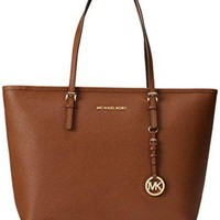 DCC3W MICHAEL by Michael Kors Jet Top Zip Tan Leather Travel Tote