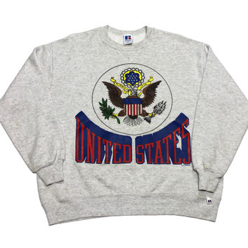 Vintage 90s Russell Athletic United States Crewneck Sweatshirt Made in USA Mens Size Large