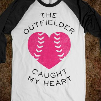 The Outfielder Caught My Heart (Baseball Tee)-White/Black T-Shirt
