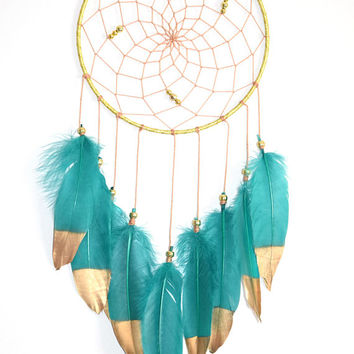 Woodland Dream Catcher Decor, Wall Hanging Decor, Green Teal Feather Dreamcatcher, Woodland Nursery Decor
