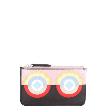 Fendi Monster Leather Key Pouch, Pink/Black