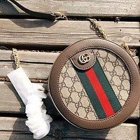 GUCCI Women New Fashion High Quality Stripe More Letter Print Round Crossbody Shoulder Bag