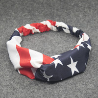 New American Flag Turban Headbands for Women 4th of July USA Headband Elastic Hair Bands Headwrap Bandana Girls Hair Accessories