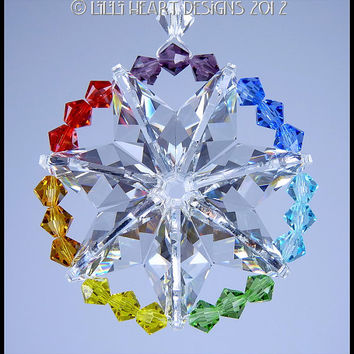 m/w Swarovski Crystal Circle Star of Life CHAKRA COLORS Suncatcher Mandala Ornament Designed by Lilli Heart Designs