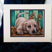 White Labrador Puppy with Daffodils, custom pet portrait, original pencil, dog drawing, animal lover, pet mom, handmade wall art gift, blue,