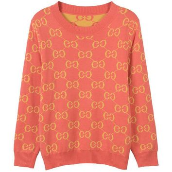 Gucci Women Men Couple Casual Print Logo Fashion Letter Knit Long Sleeve Sweater
