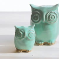 Mint green owl and owlet mother and child home decor | claylicious - Ceramics & Pottery on ArtFire
