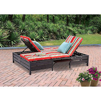 Double Chaise Lounge Relaxer Sleeper Chair Garden Outdoor Wood Patio Natural