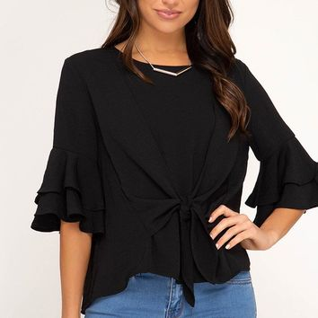 Layered Ruffle Sleeve Top with Front Tie - Black