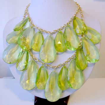 Free Shipping: Green Briolette Necklace, Anthropologie Necklace, Chunky Beaded Necklace, Double Strand, Layered