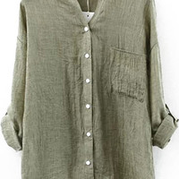 V-Neckline Long Sleeve Pocket Detailed Olive Green Blouse