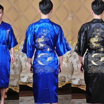 Free Shipping!Chinese Men's Silk Satin Embroider Dragon Yukata Kaftan Robe Gown With Belt M L XL XXL XXXL MR0016