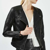 Quilted Faux Leather Biker