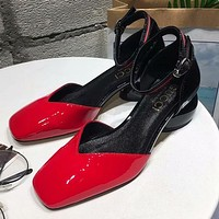GUCCI Ankle Strap Women Fashion Low Heeled Shoes