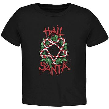 Christmas Hail Santa Pentagram Wreath Toddler T Shirt