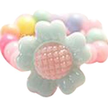Set Of 5 Cartoon Flower Ring Candy Beads Children's Jewelry Ring Random Color