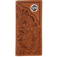 3D Natural Floral Hand-Tooled Leather with Praying Cowboy Concho Western Rodeo Wallet