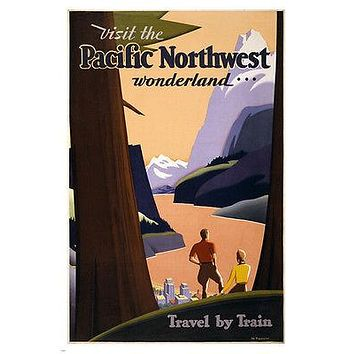 visit the PACIFIC NORTHWEST WONDERLAND travel poster 1925 24X36 REDWOODS