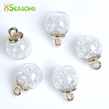 "8SEASONS Glass Globe Bottle Charms Clear Rhinestone 22mm x16mm( 7/8"" x 5/8"") - 22mm x15mm( 7/8"" x 5/8""), 10 PCs"