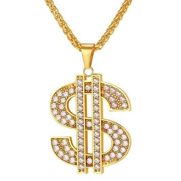 U7 US Dollar Money Necklace & Pendant 316L Stainless Steel/Gold Color Chain For Women/Men Rhinestone Hip Hop Bling Jewelry P1003+