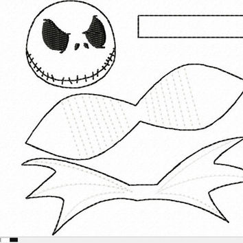 DIGITAL FILE Nightmare Skeleton Hero Inspired 3D Felt Bow Felt Clippie In the Hoop Embroidery Design File