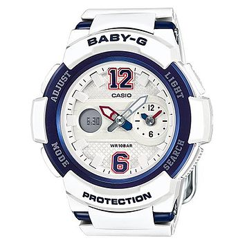 Casio Womens Baby-G - Analog/Digital - White Dial & Strap - 100m - Blue Accents