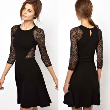 Graceful Hollow Lace Stitching Black Dresses