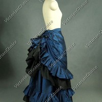 High Quality Victorian Edwardian Downton Abbey Masquerade Pleated Gathered Bustle Walking Skirt Theatre Quality Halloween Costume