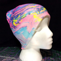 Festival hat, hand painted, beanie
