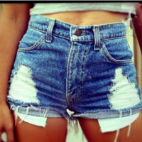 Sexy Women Girl Summer High Waist Ripped Hole Wash Blue Denim Jeans Shorts Pants [9819069455]