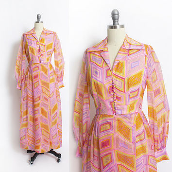 Vintage 1960s Dress - Pink Rainbow Nylon Chiffon Psychedelic Full Length Maxi - Medium