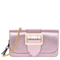 Burberry Women's Mini 'Buckle' Metallic Crossbody Bag Pale Orchid