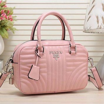 Prada Women Fashion Leather Satchel Shoulder Bag Crossbody Handbag Pink