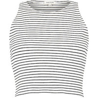 River Island Womens Cream stripe ribbed racer crop top