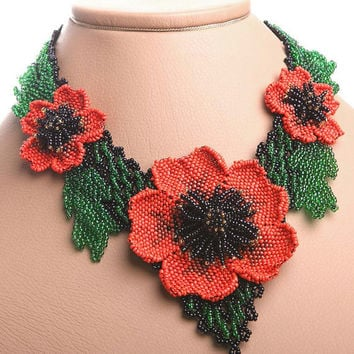 Beaded Necklace Blooming Large Flower 3D Poppy Red Handmade