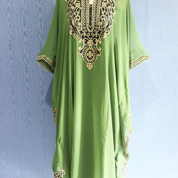Green Maternity Dress Caftan Maxi Dress Plus Size Caftan Dress for beach cover ups, Resortwear, Loungewear, Maxi Dresses, Gift Dress