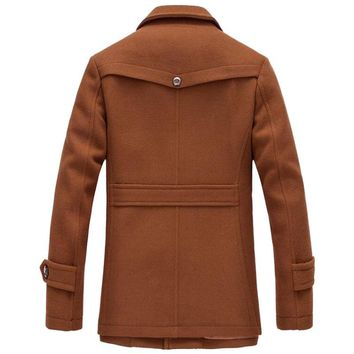 Winter Wool Coat Men Thick Warm Slim Fit Jackets Outerwear Casual Jacket Mens Pea Coat Plus Size XXXL Overcoat Brand Clothing