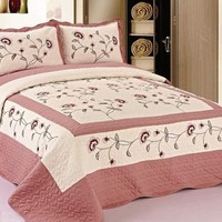 3 Piece Set King Size Quilted Bedspread Pink Flowers Floral Quilt W Sham HQ New