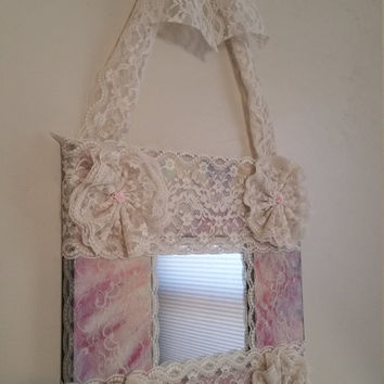 NEW Shabby Chic Princess Lace Wall Mirror / Pink & Cream Lace Victorian Style Mirror Frame