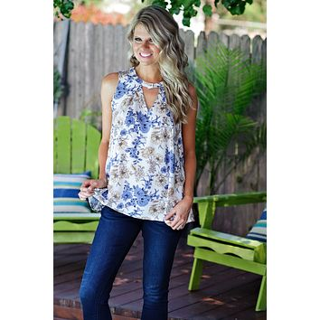 * Daisy Floral Tank : White