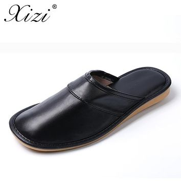 XIZI brand 2017 Couples PU Leather Warm Winter cro shoes rs Home Slippers Non-Slip Thick Plush House Shoes Cotton Men Slippers