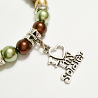 Camouflage Pearl I Love My Soldier Charm Bracelet – Deployment Jewelry – Soldier Jewelry - Winter Soldier Jewelry - Deployment Gift