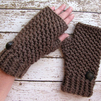 On Sale 10% Off Crocheted Fingerless Gloves, Dark Taupe Winter Gloves, Taupe Wrist Warmers
